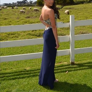 Navy blue and Gold Faviana Glamour prom dress